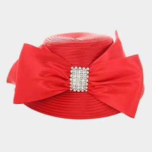 New Braid Bow Stone Accented Hat Church Hat
